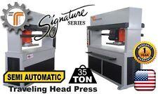 NEW!! CJRTec 35 Ton Travel Head Clicker Press Semi Automatic Hydraulic Cutting