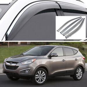 Car Window Visor Vent Deflector Sun/Rain Guards Set for Hyundai Tucson 2010-2015