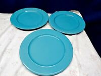 Vintage Royal Norfolk Embossed Turquoise Scrolls Set/3 Dinner Plates Beautiful!