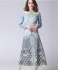 2018 fashion Occident spring designs printing water soluble hollow dress SMLXL