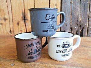 Retro Tasse Kaffeebecher Emaille Look Keramik Kaffeetasse Tee Kaffee Küche Tisch