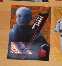 Topps 2016 STAR WARS High Tek Autograph Card SNOKE ANDY SERKIS 18/25 Carte RARE
