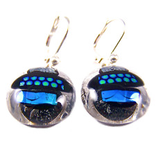 """Dicro Lever Back Dangle 1/2"""" 12mm Dichroic Earrings Blue Green Silver Patterned"""