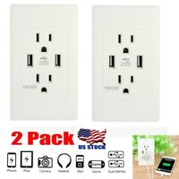 2 PACKS Dual USB Port Wall Socket Charger AC Power Receptacle Outlet Plate Panel