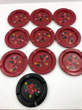 Vintage Tin Ashtray Flowers Floral Rose Set of 12 Restaurant Cigarette Coasters
