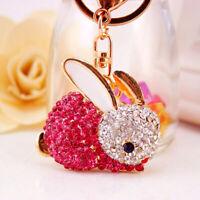 Rhinestone Crystal Rabbit Keychain Womens Charm Keyring Jewelry Pink