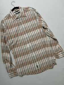Ermenegildo Zegna Sport Men's Beige Tan Brown White LS Plaid Casual Shirt L-XL