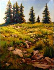 "Robert Bob Rham ""Summer Hike""Original Oil on Board tree, MTN Hand Signed"