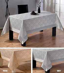 Tropik Home Large Luxury Polycotton Tablecloths in Grey or Beige 160 x 320CM