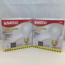 Satco S3929 100W 130V A19 Frost Incandescent Bulb 960 Lumens Lot of 2