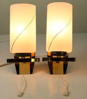 Paar Wand Leuchten Messing Glas Zugschalter Lampen Vintage Wall Lamps 60er Jahre