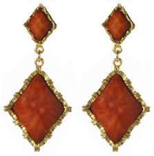 Amrita Singh Womens Reign Wainscot Coral Red Faceted Resin Earrings ERC 5001 NWT