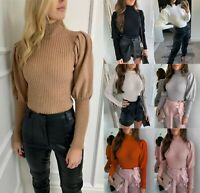 Women's Ladies Fine Ribbed Puff Sleeve Mock Neck Warm Knitted Jumper Sweater Top