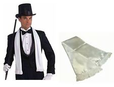 White Satin Scarf Mens Gangster Gentlemen Victorian Opera Tuxedo Fancy Dress