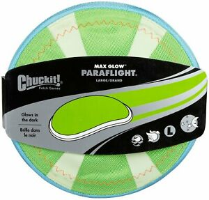 Chuckit! 2 Pack of Max Glow Paraflight Dog Frisbee, Large 9.75-Inch