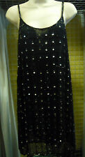 """Astraka Black Strappy Dress with Sequins size 34""""-36"""" fully lined"""