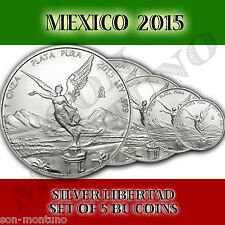 NEW 2015 Mexico SET OF 5 SILVER LIBERTAD BU COINS 1+1/2+1/4+1/10+1/20 MINT FRESH