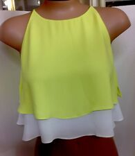 Elizabeth And James Blouse NWT$265 Yellow& White Silk Crop Xs