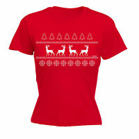 Christmas JUMPER REINDEER WOMENS T-SHIRT funny xmas gift x-mas present