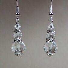 Clear crystal vintage silver drop dangle earrings wedding bridesmaid bridal gift