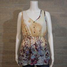 Daytrip Misses SMALL Floral Elastic Flare Peplum Waist Open Back Tank Top Shirt