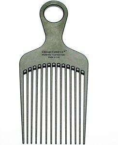 Chicago Comb Model 7 Carbon Fiber detangling, lift & pick comb, Made in USA
