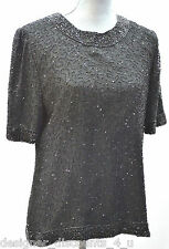 Vtg. Laurence Kazar pure black Beaded 100% Silk evening stunning cruise top Sz L