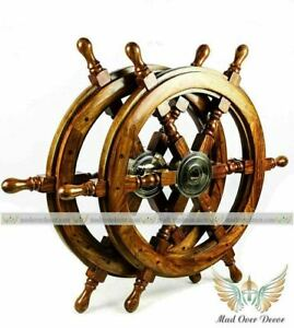 """18""""Antique Nautical Brass Wooden Ship Wheel Vintage Captain Pirate Set Of 2 Gift"""