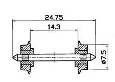 Roco H0 40189 DC un conjunto de rueda estándar aislado ambos lados 7,5 mm