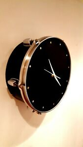 Upcycled black Drum Clock #