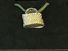 "Wicker Handbag TG98 English Pewter On 18"" Green Cord Necklace"