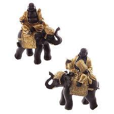 2er Set Lachende Buddha auf einem Elefant in gold, braun Dekofigur