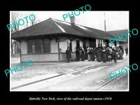 OLD LARGE HISTORIC PHOTO OF STITTVILLE NEW YORK, THE RAILROAD DEPOT STATION 1910
