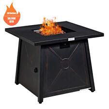 "30"" Square Propane Gas Fire Pit Table 50,000 BTU W/ Waterproof Cover Lava Rock"