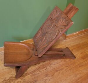 Antique Retro w Piece Wood Reclined Folding Accent Chair Carved Pineapple Africa