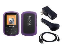 Black Charger Cable + Purple Skin Case for Sandisk Sansa Clip Sport Plus SDMX28
