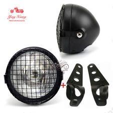 """6.5"""" Retro Motorcycle Headlight Grill Side Mount Cover W/ Bracket Cafe Racer New"""