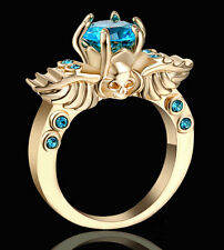 Size 6 Skull sky-blue Topaz Ring Wing CZ Women's 10KT Yellow Gold Plated Wedding