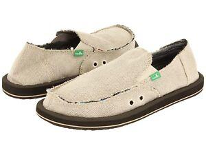 Men's Shoes Sanuk HEMP Slip On Loafers Sidewalk Surfers SMF1010 NATURAL