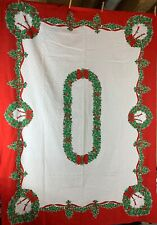 Beautiful Christmas Vintage Tablecloth Dots and Wreaths 68x50
