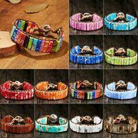 Vintage Handmade 7 Chakra Leather Bracelet Natural Stone Tube Beaded Wrap Bangle