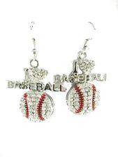 Baseball  dangle earrings/ handmade/silver plated/ I Love Baseball