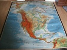 """Giant North America Wall Map 79"""" x 64"""" Haack-Painke Justus Perthes Nystrom & Co"""