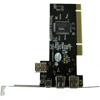 New PCI FireWire IEEE 1394 3 + 1 Port Card + 4/6 Pin Cable DT