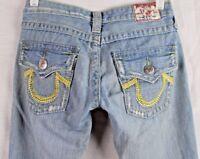 TRUE RELIGION Women's Distressed Light-Wash Flare-Leg Rainbow Joey Jeans W27/L32