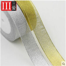 "Free Shipping Gold and silver 3/8""(10mm-50mm) 25 yards craft Bows Satin Ribbon"