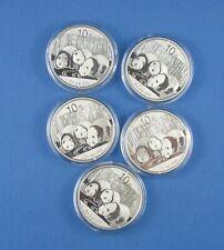 Five  -  1 Oz    .999 Pure Silver Chinese Pandas   -   2013