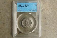 1932 Canada five 5 cents **CCCS F-15** Far 2 error / variety
