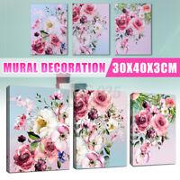 3PCS Wall Art Flower Decor Framed Pink Flower Picture Panel Home Bedroom Decor