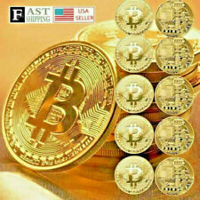 10 Pcs Gold Bitcoin Coins 2021 New Commemorative Collectors Gold Plated Bit Coin